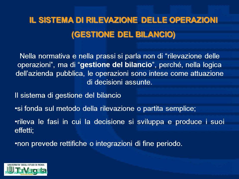 """IL SISTEMA DI RILEVAZIONE DELLE OPERAZIONI (GESTIONE DEL BILANCIO) Nella normativa e nella prassi si parla non di """"rilevazione delle operazioni"""", ma d"""