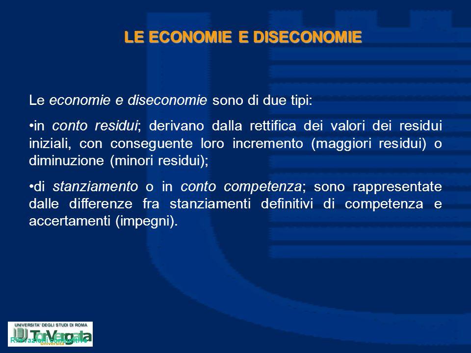 LE ECONOMIE E DISECONOMIE Le economie e diseconomie sono di due tipi: in conto residui; derivano dalla rettifica dei valori dei residui iniziali, con