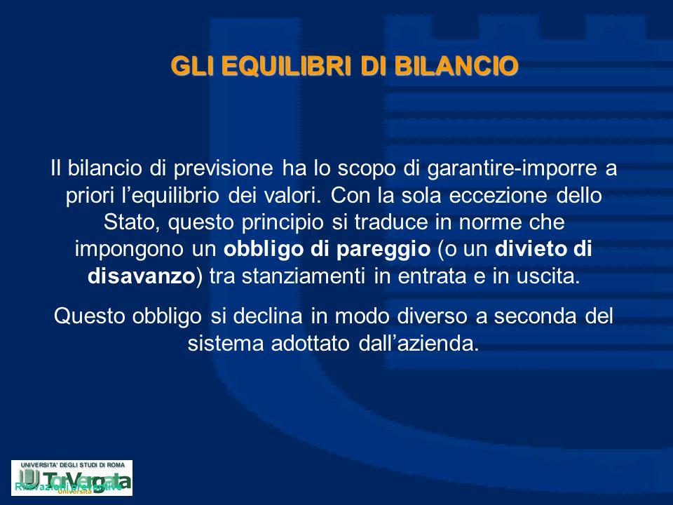 GLI EQUILIBRI DI BILANCIO Il bilancio di previsione ha lo scopo di garantire-imporre a priori l'equilibrio dei valori. Con la sola eccezione dello Sta