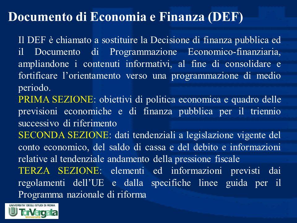 Documento di Economia e Finanza (DEF) Il DEF è chiamato a sostituire la Decisione di finanza pubblica ed il Documento di Programmazione Economico-fina