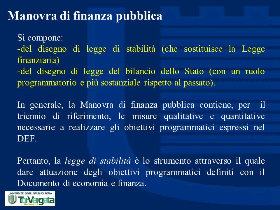 Manovra di finanza pubblica Si compone: -del disegno di legge di stabilità (che sostituisce la Legge finanziaria) -del disegno di legge del bilancio d