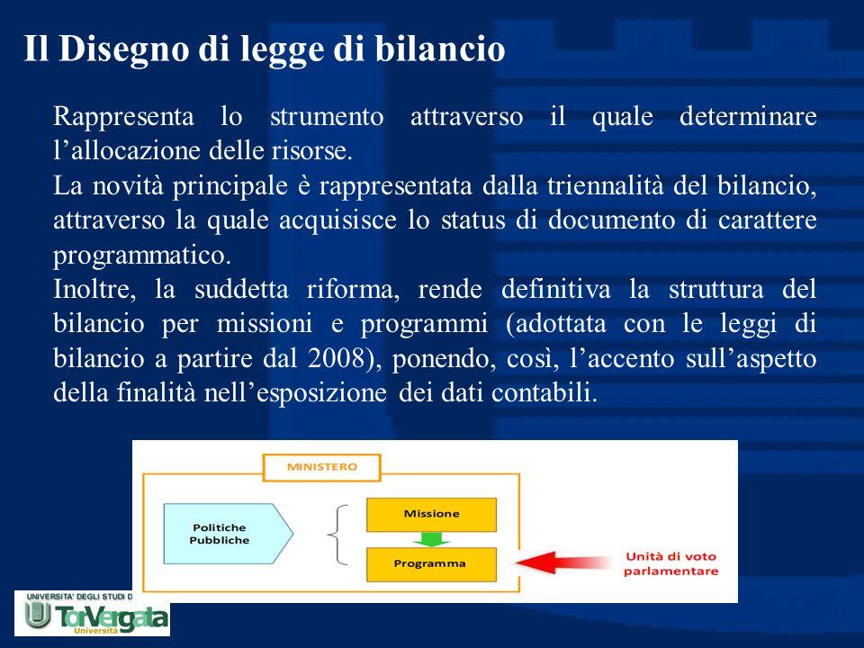 Il Disegno di legge di bilancio Rappresenta lo strumento attraverso il quale determinare l'allocazione delle risorse. La novità principale è rappresen