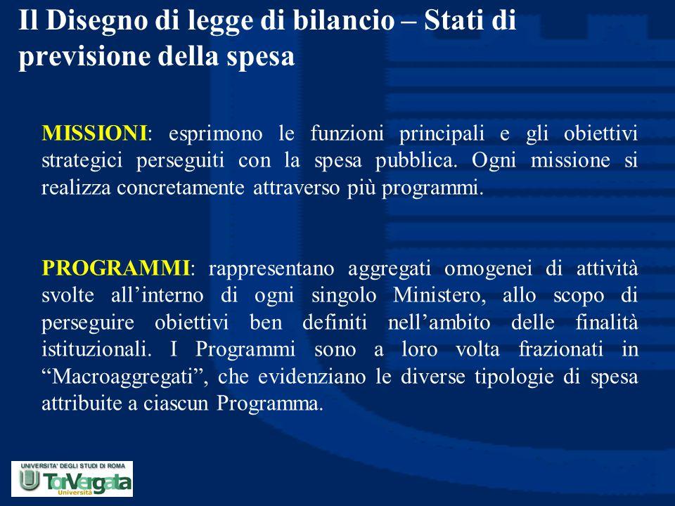 Il Disegno di legge di bilancio – Stati di previsione della spesa MISSIONI: esprimono le funzioni principali e gli obiettivi strategici perseguiti con