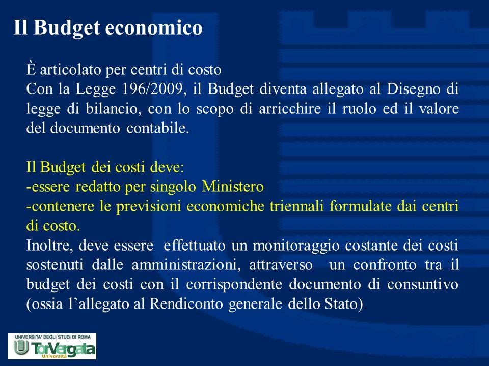 Il Budget economico È articolato per centri di costo Con la Legge 196/2009, il Budget diventa allegato al Disegno di legge di bilancio, con lo scopo d