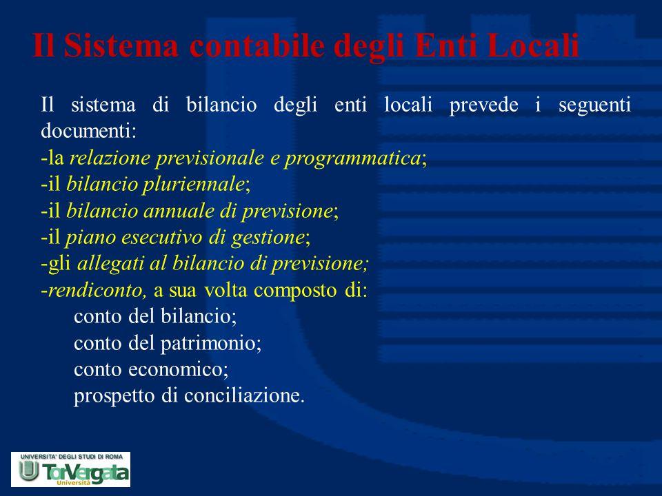 Il Sistema contabile degli Enti Locali Il sistema di bilancio degli enti locali prevede i seguenti documenti: -la relazione previsionale e programmati