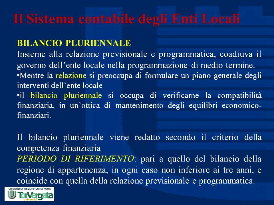 Il Sistema contabile degli Enti Locali BILANCIO PLURIENNALE Insieme alla relazione previsionale e programmatica, coadiuva il governo dell'ente locale