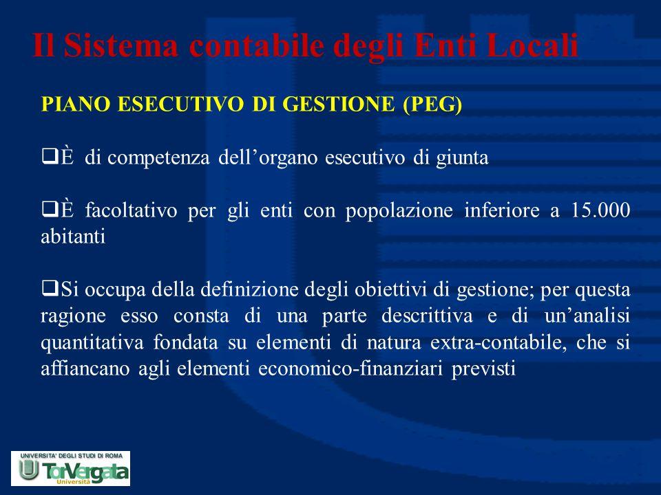 Il Sistema contabile degli Enti Locali PIANO ESECUTIVO DI GESTIONE (PEG)  È di competenza dell'organo esecutivo di giunta  È facoltativo per gli ent