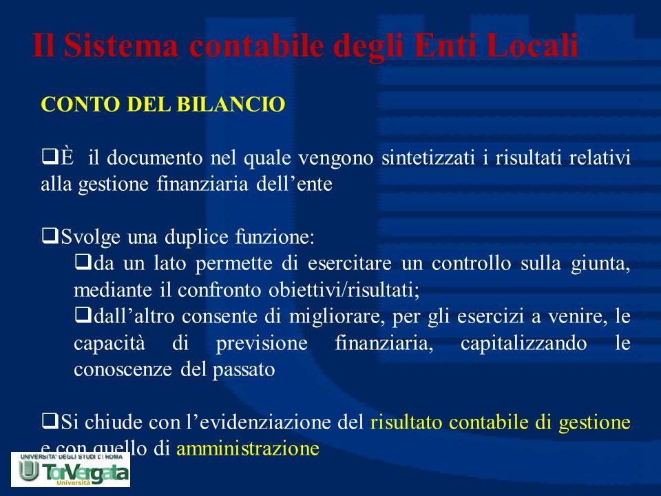 Il Sistema contabile degli Enti Locali CONTO DEL BILANCIO  È il documento nel quale vengono sintetizzati i risultati relativi alla gestione finanziar
