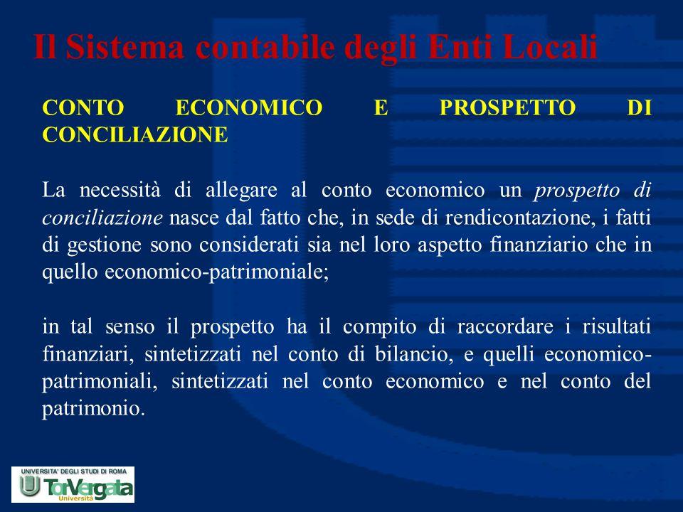 Il Sistema contabile degli Enti Locali CONTO ECONOMICO E PROSPETTO DI CONCILIAZIONE La necessità di allegare al conto economico un prospetto di concil