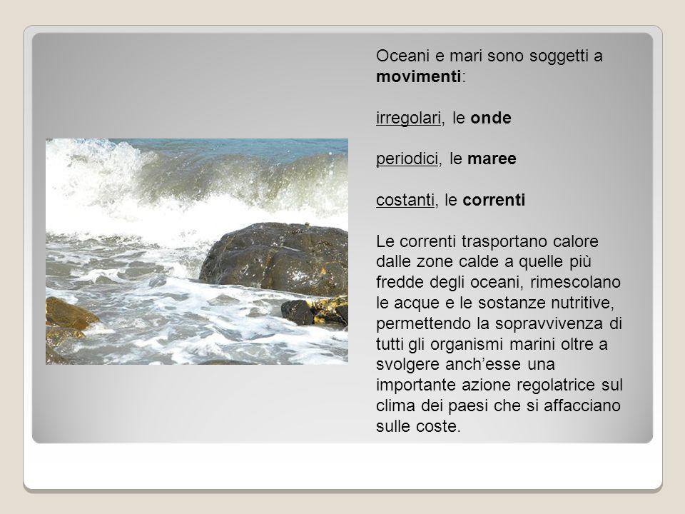 Oceani e mari sono soggetti a movimenti: irregolari, le onde periodici, le maree costanti, le correnti Le correnti trasportano calore dalle zone calde