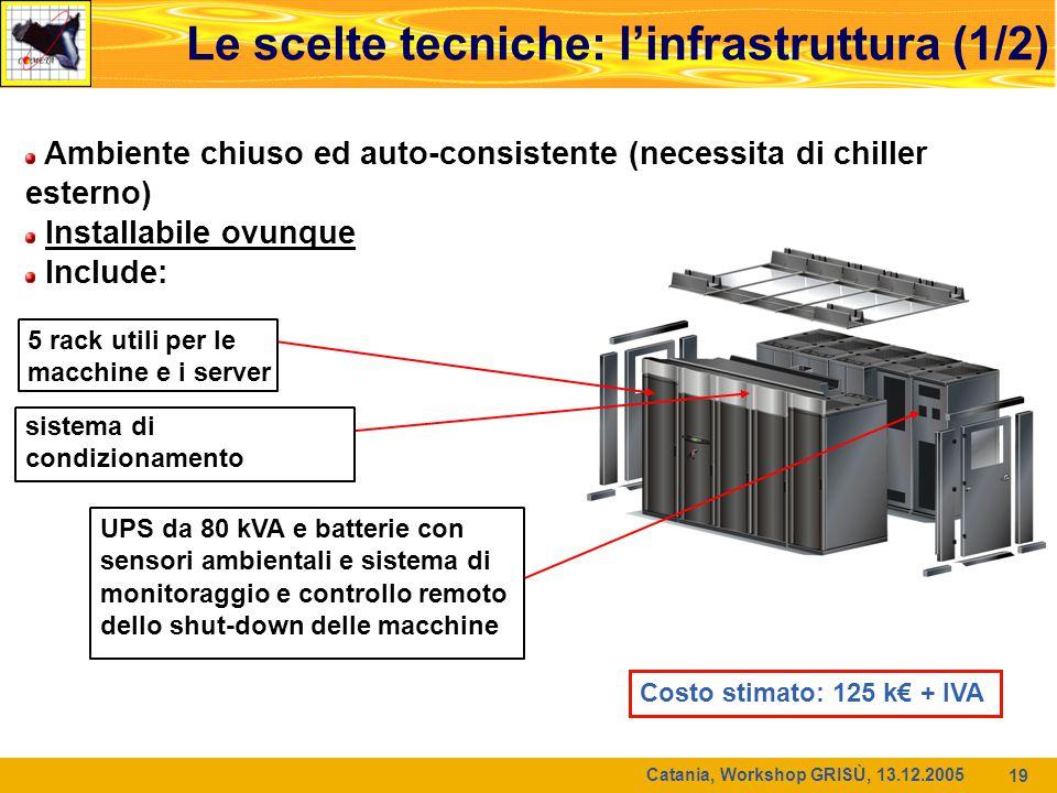 Catania, Workshop GRISÙ, 13.12.2005 19 Le scelte tecniche: l'infrastruttura (1/2) Ambiente chiuso ed auto-consistente (necessita di chiller esterno) I