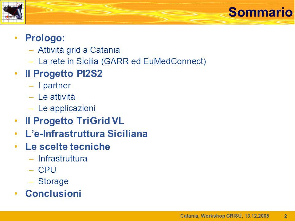 Catania, Workshop GRISÙ, 13.12.2005 2 Sommario Prologo: –Attività grid a Catania –La rete in Sicilia (GARR ed EuMedConnect) Il Progetto PI2S2 –I partn