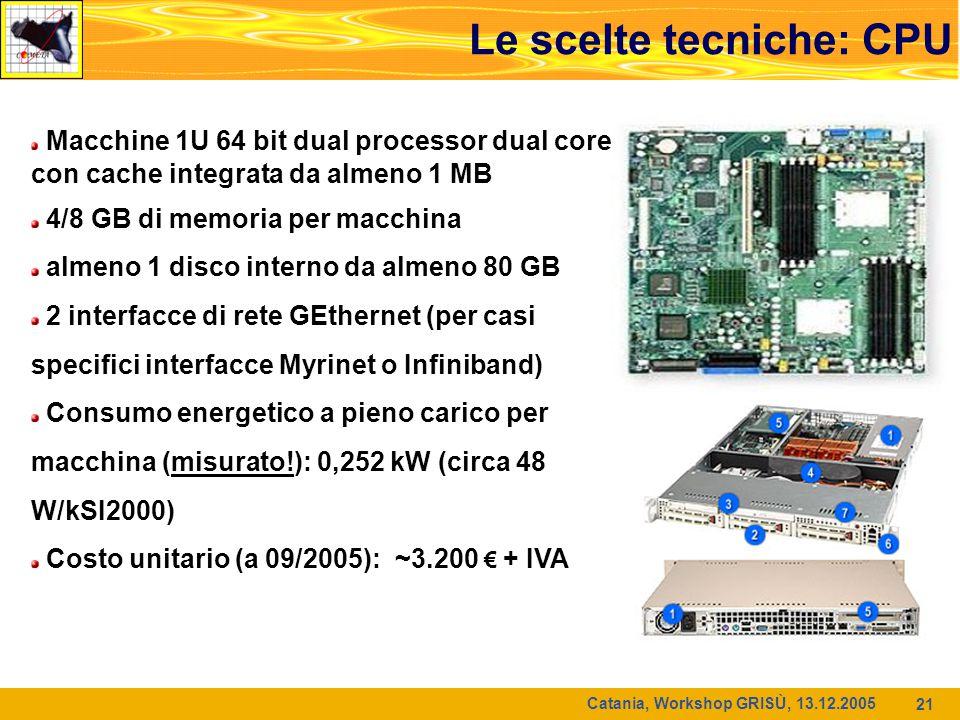 Catania, Workshop GRISÙ, 13.12.2005 21 Le scelte tecniche: CPU Macchine 1U 64 bit dual processor dual core con cache integrata da almeno 1 MB 4/8 GB di memoria per macchina almeno 1 disco interno da almeno 80 GB 2 interfacce di rete GEthernet (per casi specifici interfacce Myrinet o Infiniband) Consumo energetico a pieno carico per macchina (misurato!): 0,252 kW (circa 48 W/kSI2000) Costo unitario (a 09/2005): ~3.200 € + IVA