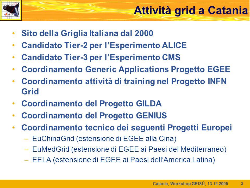 Catania, Workshop GRISÙ, 13.12.2005 3 Attività grid a Catania Sito della Griglia Italiana dal 2000 Candidato Tier-2 per l'Esperimento ALICE Candidato Tier-3 per l'Esperimento CMS Coordinamento Generic Applications Progetto EGEE Coordinamento attività di training nel Progetto INFN Grid Coordinamento del Progetto GILDA Coordinamento del Progetto GENIUS Coordinamento tecnico dei seguenti Progetti Europei –EuChinaGrid (estensione di EGEE alla Cina) –EuMedGrid (estensione di EGEE ai Paesi del Mediterraneo) –EELA (estensione di EGEE ai Paesi dell'America Latina)
