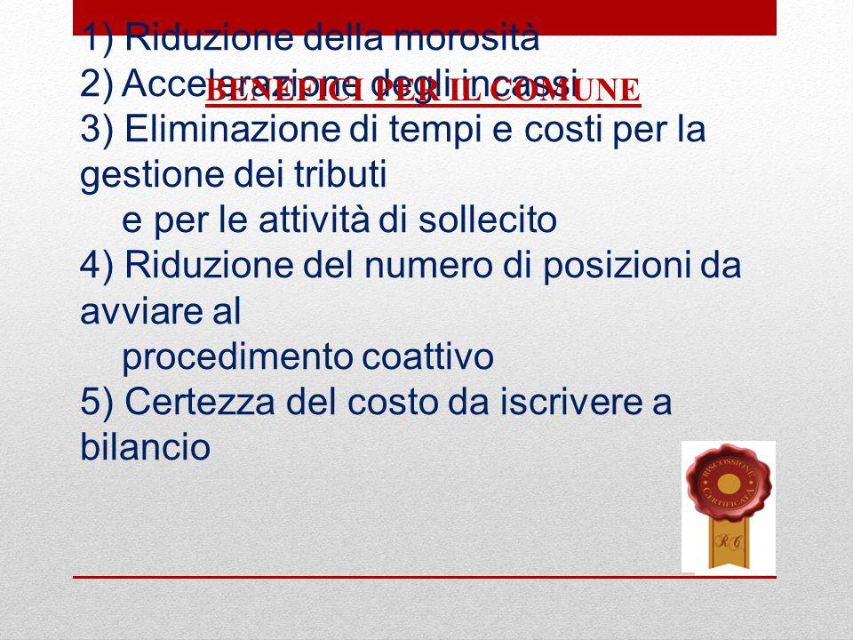 1) Riduzione della morosità 2) Accelerazione degli incassi 3) Eliminazione di tempi e costi per la gestione dei tributi e per le attività di sollecito