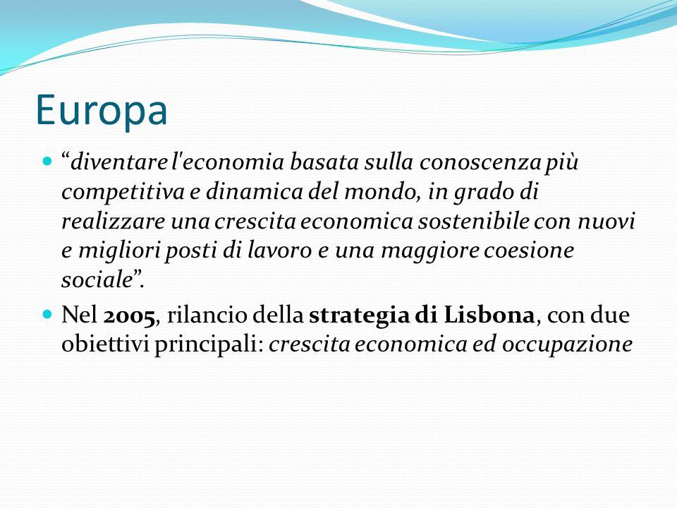 Europa diventare l economia basata sulla conoscenza più competitiva e dinamica del mondo, in grado di realizzare una crescita economica sostenibile con nuovi e migliori posti di lavoro e una maggiore coesione sociale .