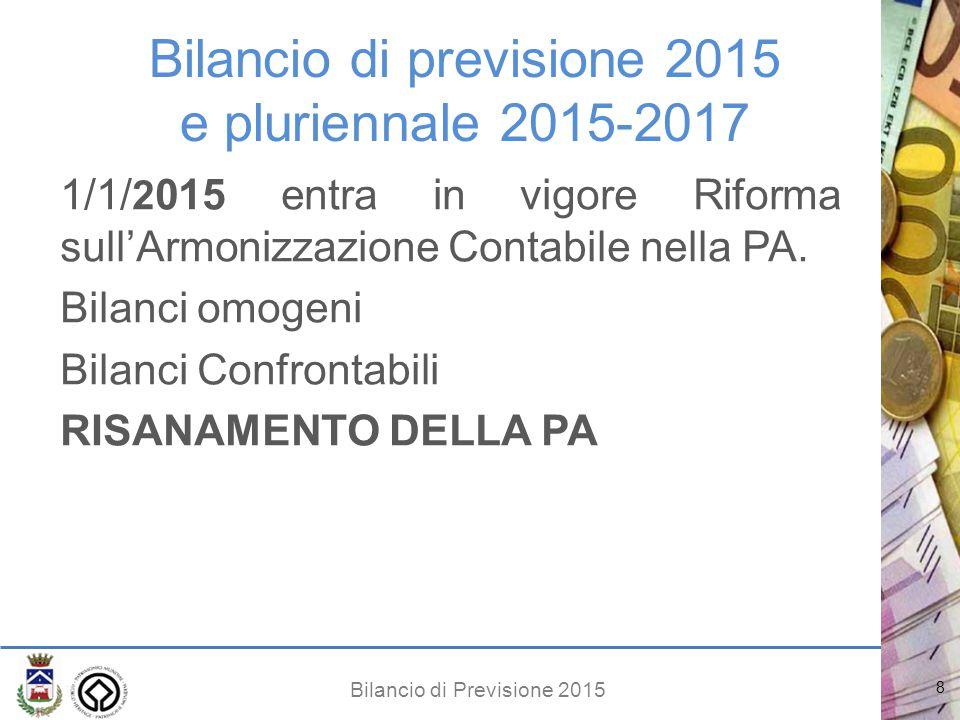 Bilancio di Previsione 2015 Bilancio di previsione 2015 e pluriennale 2015-2017 1/1/ 2 015 entra in vigore Riforma sull'Armonizzazione Contabile nella PA.