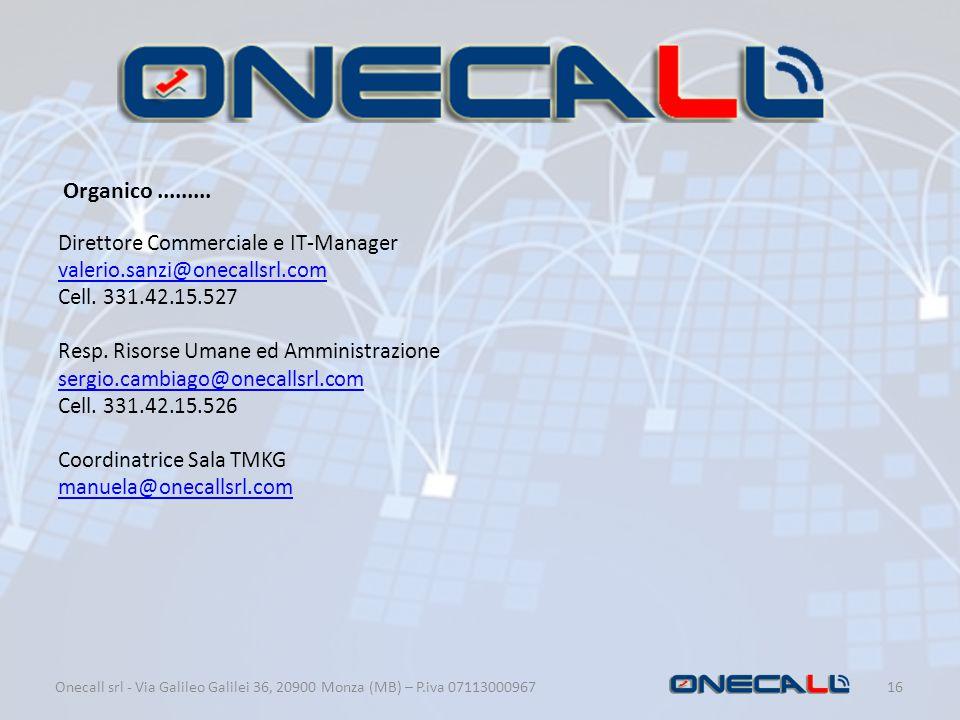 Onecall srl - Via Galileo Galilei 36, 20900 Monza (MB) – P.iva 07113000967 16 Organico......... Direttore Commerciale e IT-Manager valerio.sanzi@oneca