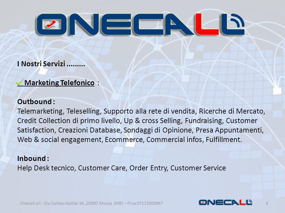 I Nostri Servizi......... Marketing Telefonico : Outbound : Telemarketing, Teleselling, Supporto alla rete di vendita, Ricerche di Mercato, Credit Col