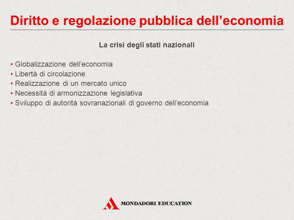 La crisi degli stati nazionali Globalizzazione dell'economia Libertà di circolazione Realizzazione di un mercato unico Necessità di armonizzazione leg