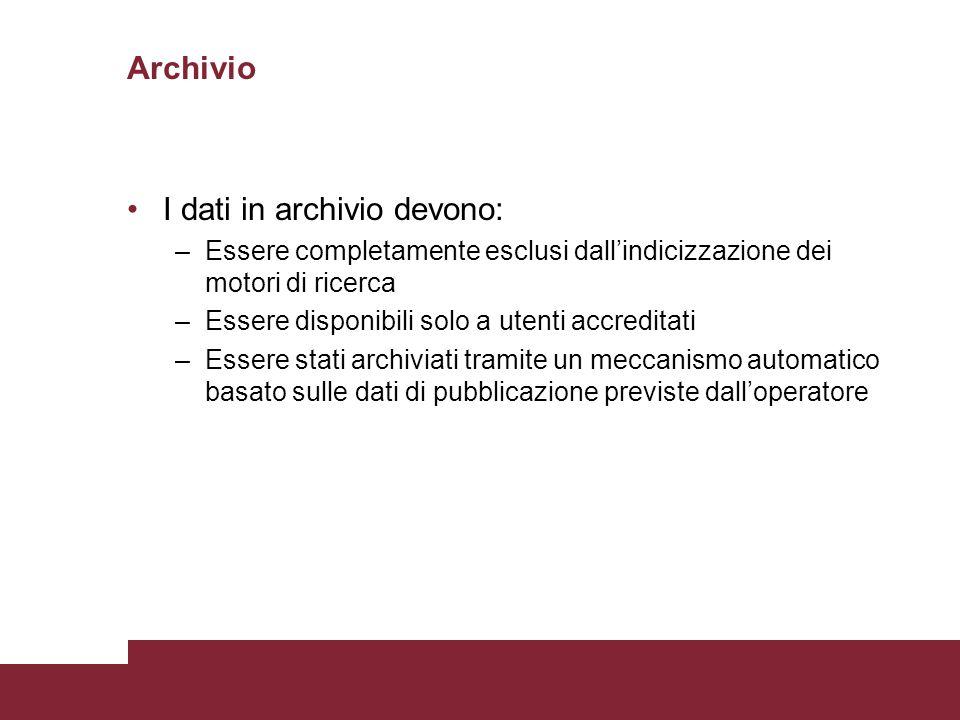 Archivio I dati in archivio devono: –Essere completamente esclusi dall'indicizzazione dei motori di ricerca –Essere disponibili solo a utenti accredit