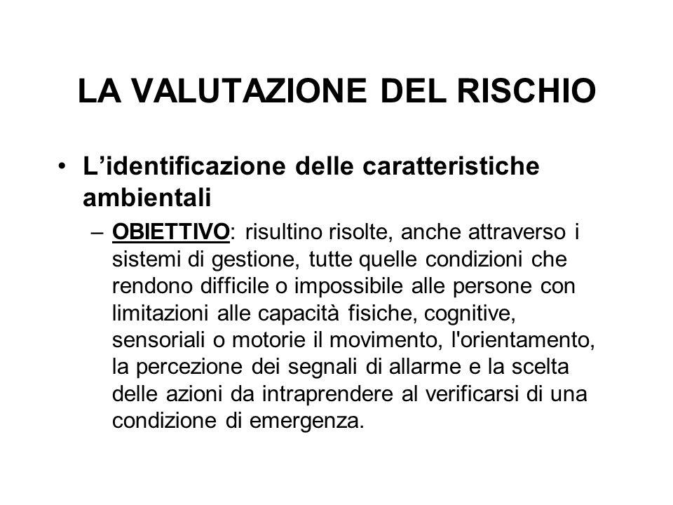 LA VALUTAZIONE DEL RISCHIO L'identificazione delle caratteristiche ambientali –OBIETTIVO: risultino risolte, anche attraverso i sistemi di gestione, t