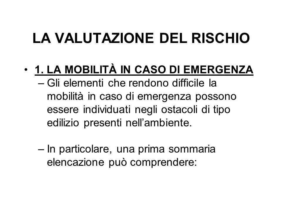 LA VALUTAZIONE DEL RISCHIO 1. LA MOBILITÀ IN CASO DI EMERGENZA –Gli elementi che rendono difficile la mobilità in caso di emergenza possono essere ind