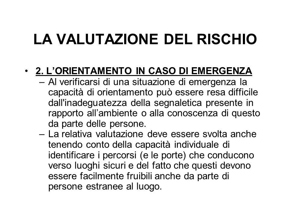 LA VALUTAZIONE DEL RISCHIO 2. L'ORIENTAMENTO IN CASO DI EMERGENZA –Al verificarsi di una situazione di emergenza la capacità di orientamento può esser