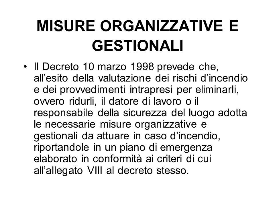 MISURE ORGANIZZATIVE E GESTIONALI Il Decreto 10 marzo 1998 prevede che, all'esito della valutazione dei rischi d'incendio e dei provvedimenti intrapre
