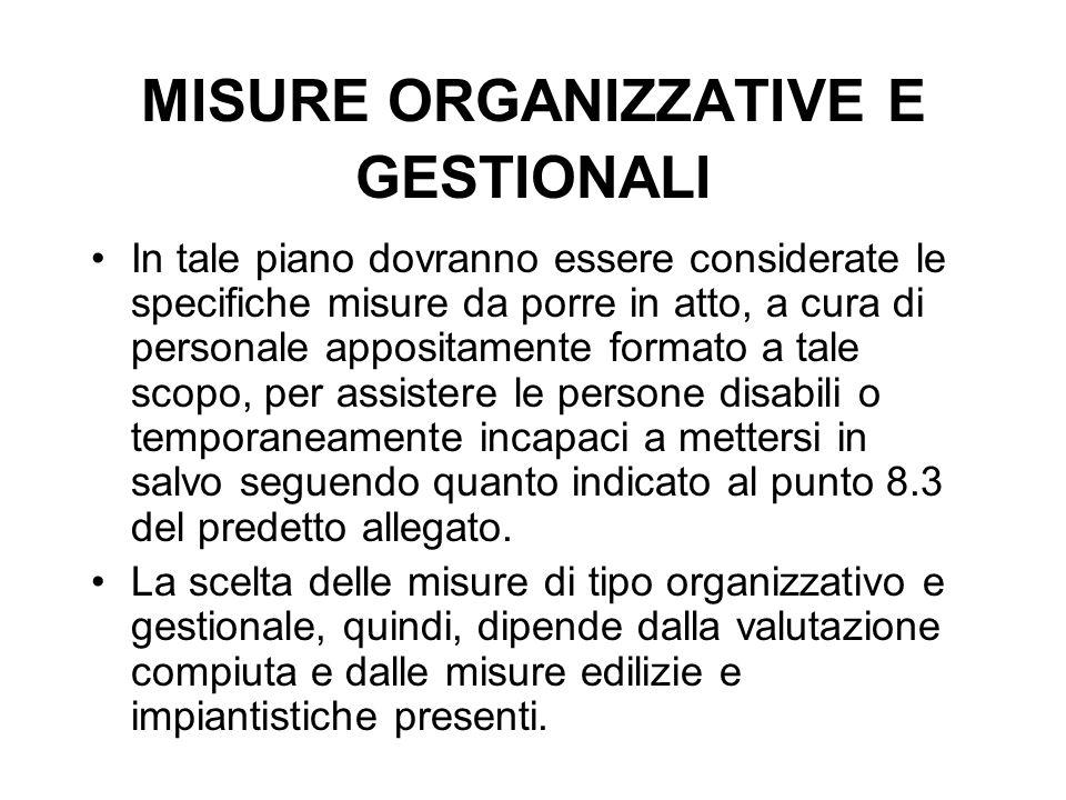 MISURE ORGANIZZATIVE E GESTIONALI In tale piano dovranno essere considerate le specifiche misure da porre in atto, a cura di personale appositamente f