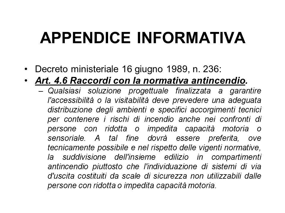 APPENDICE INFORMATIVA Decreto ministeriale 16 giugno 1989, n. 236: Art. 4.6 Raccordi con la normativa antincendio. –Qualsiasi soluzione progettuale fi