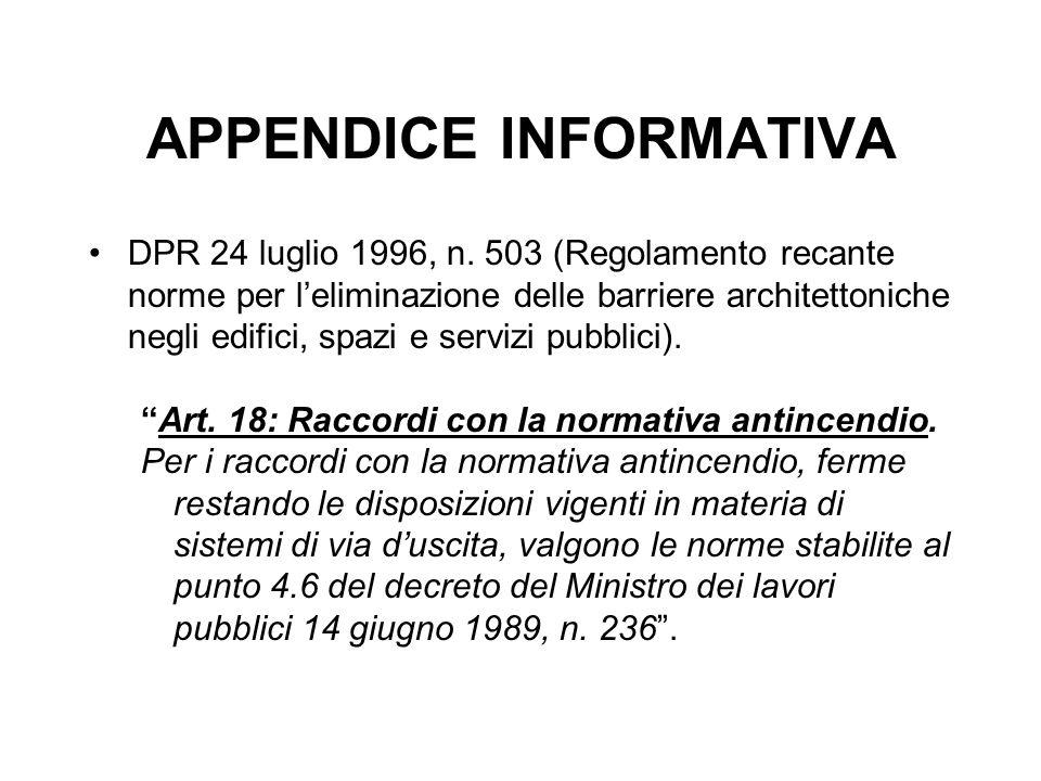 APPENDICE INFORMATIVA DPR 24 luglio 1996, n. 503 (Regolamento recante norme per l'eliminazione delle barriere architettoniche negli edifici, spazi e s