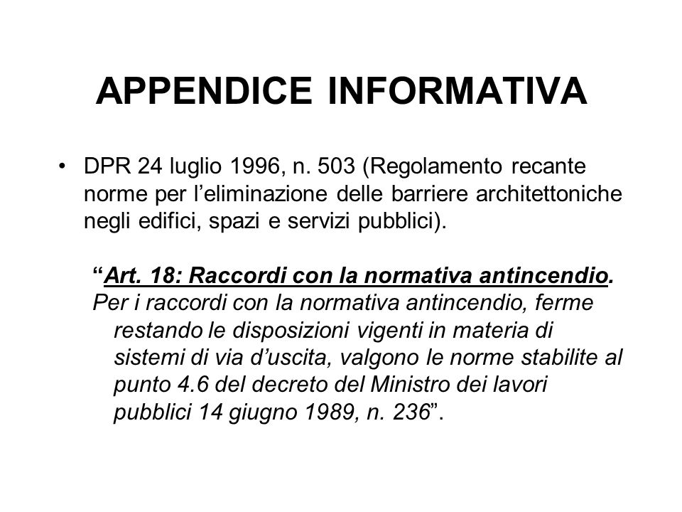 APPENDICE INFORMATIVA DPR 24 luglio 1996, n.