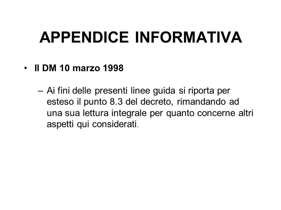 APPENDICE INFORMATIVA Il DM 10 marzo 1998 –Ai fini delle presenti linee guida si riporta per esteso il punto 8.3 del decreto, rimandando ad una sua le