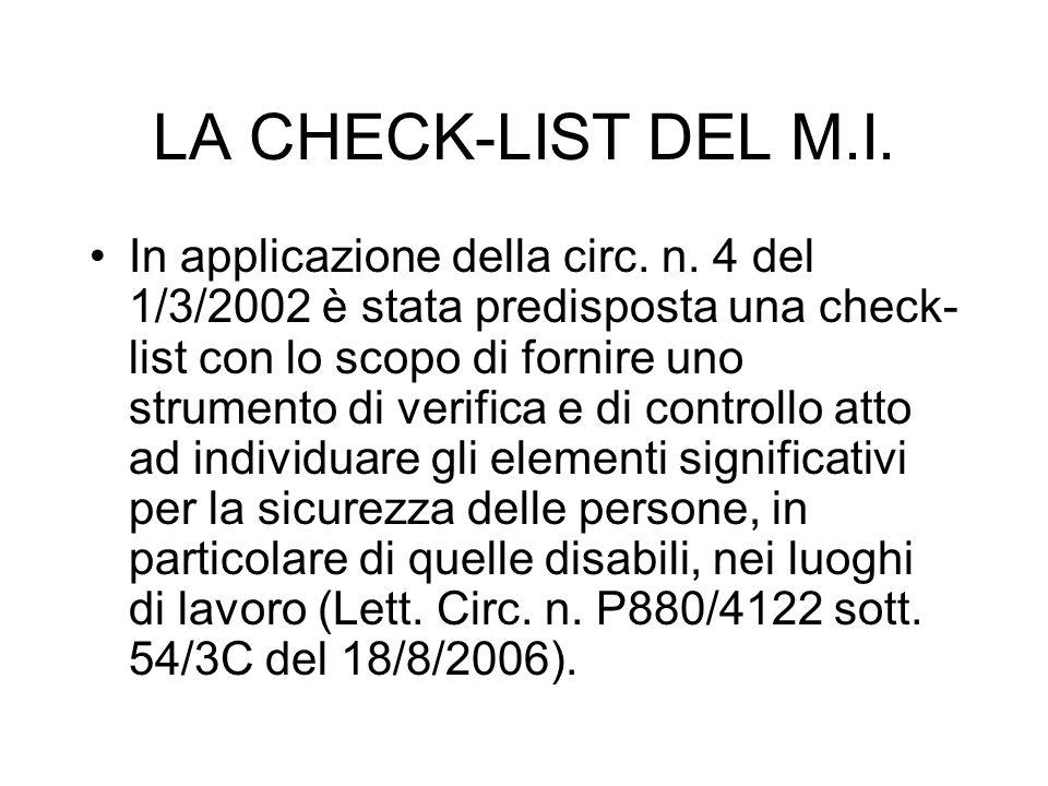 LA CHECK-LIST DEL M.I. In applicazione della circ. n. 4 del 1/3/2002 è stata predisposta una check- list con lo scopo di fornire uno strumento di veri