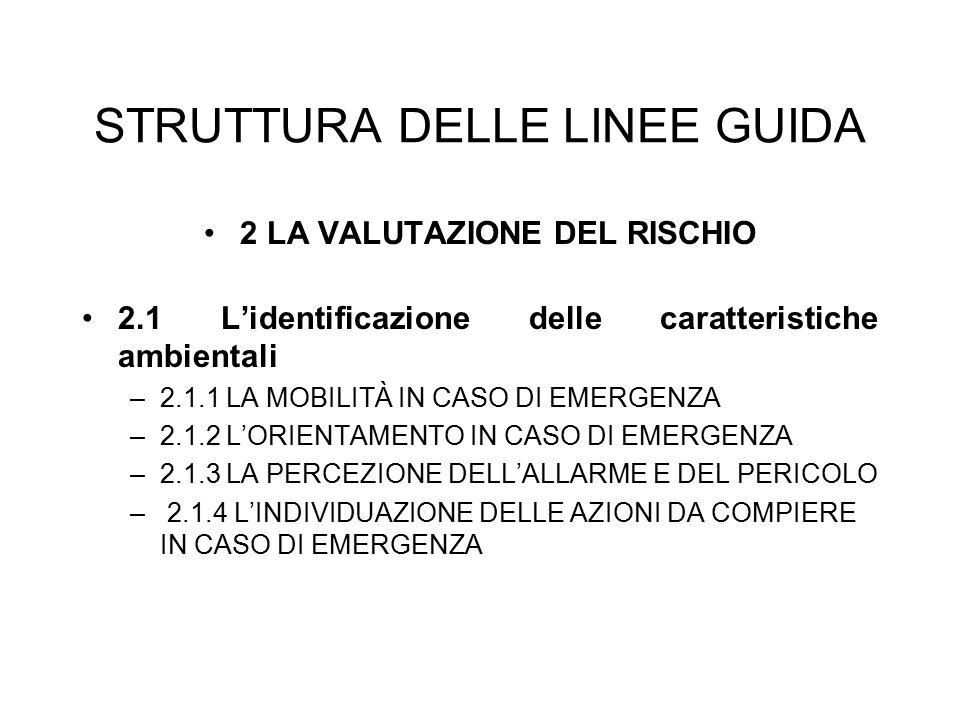 STRUTTURA DELLE LINEE GUIDA 2 LA VALUTAZIONE DEL RISCHIO 2.1 L'identificazione delle caratteristiche ambientali –2.1.1 LA MOBILITÀ IN CASO DI EMERGENZ