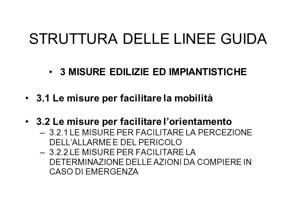 STRUTTURA DELLE LINEE GUIDA 3 MISURE EDILIZIE ED IMPIANTISTICHE 3.1 Le misure per facilitare la mobilità 3.2 Le misure per facilitare l'orientamento –3.2.1 LE MISURE PER FACILITARE LA PERCEZIONE DELL'ALLARME E DEL PERICOLO –3.2.2 LE MISURE PER FACILITARE LA DETERMINAZIONE DELLE AZIONI DA COMPIERE IN CASO DI EMERGENZA