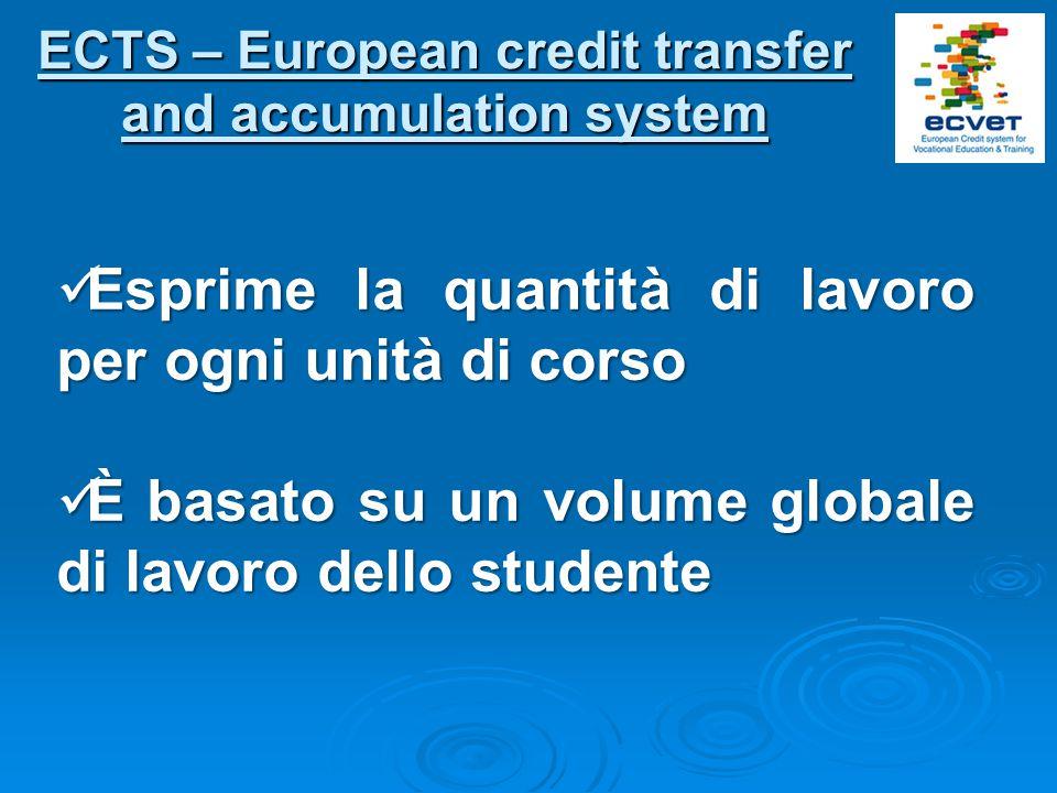 ECTS – European credit transfer and accumulation system Esprime la quantità di lavoro per ogni unità di corso Esprime la quantità di lavoro per ogni unità di corso È basato su un volume globale di lavoro dello studente È basato su un volume globale di lavoro dello studente