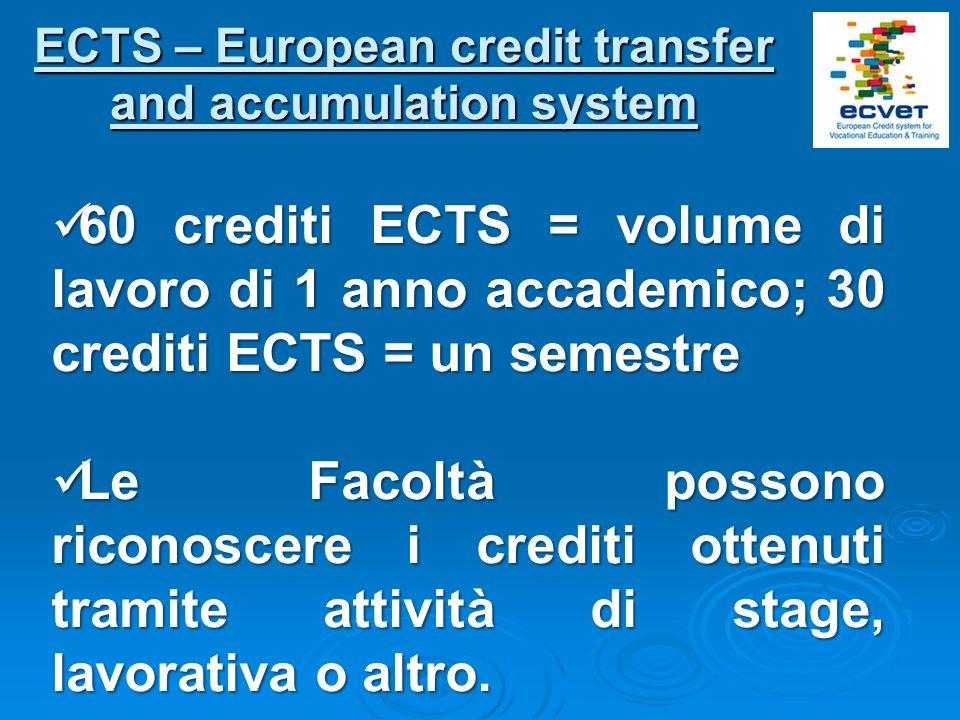 ECTS – European credit transfer and accumulation system 60 crediti ECTS = volume di lavoro di 1 anno accademico; 30 crediti ECTS = un semestre 60 cred