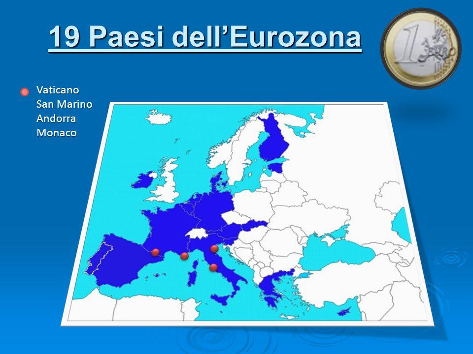 19 Paesi dell'Eurozona Vaticano San Marino AndorraMonaco