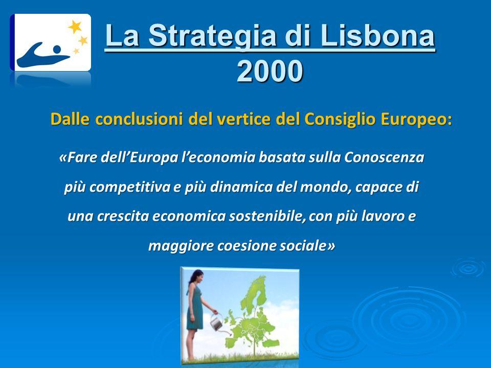 La Strategia di Lisbona 2000 Dalle conclusioni del vertice del Consiglio Europeo: «Fare dell'Europa l'economia basata sulla Conoscenza più competitiva e più dinamica del mondo, capace di una crescita economica sostenibile, con più lavoro e maggiore coesione sociale»
