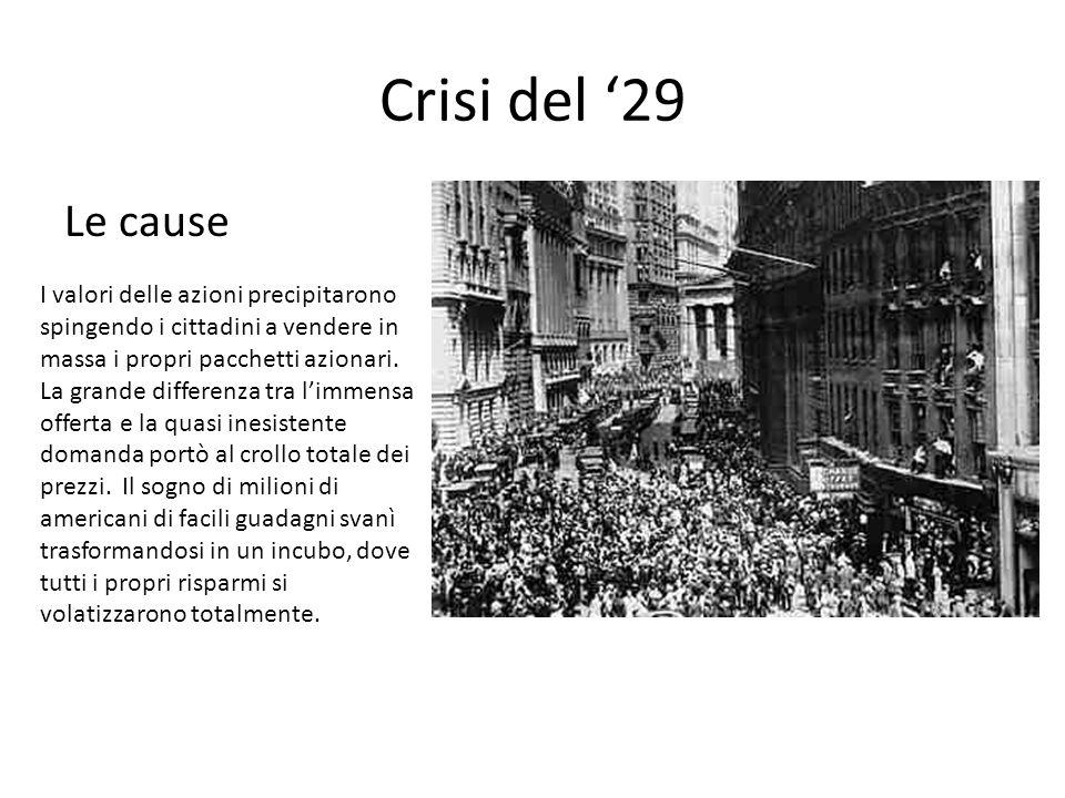 Crisi del '29 Le cause I valori delle azioni precipitarono spingendo i cittadini a vendere in massa i propri pacchetti azionari. La grande differenza