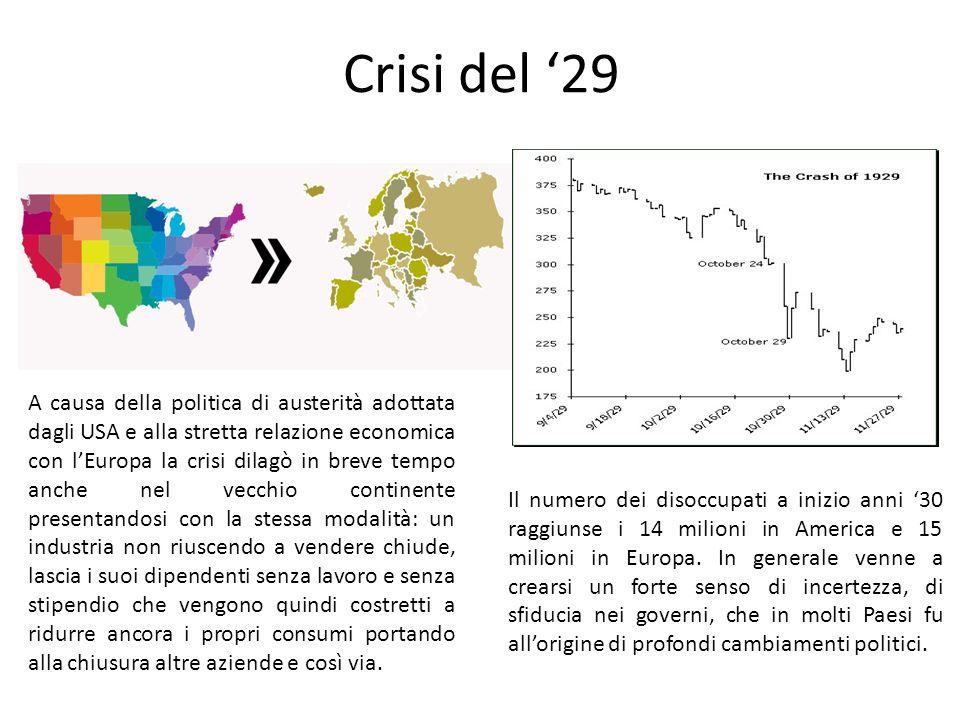 Crisi del '29 Ripercussioni Il numero dei disoccupati a inizio anni '30 raggiunse i 14 milioni in America e 15 milioni in Europa. In generale venne a