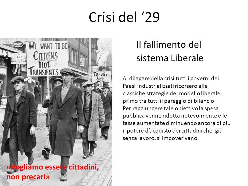 Crisi del '29 Il fallimento del sistema Liberale Al dilagare della crisi tutti i governi dei Paesi industrializzati ricorsero alle classiche strategie