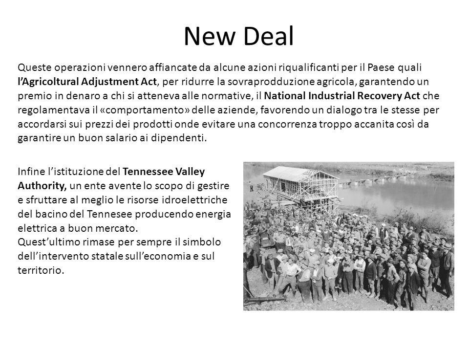 New Deal Queste operazioni vennero affiancate da alcune azioni riqualificanti per il Paese quali l'Agricoltural Adjustment Act, per ridurre la sovrapr