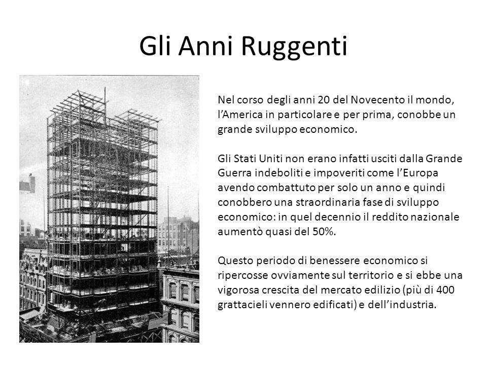 Gli Anni Ruggenti Nel corso degli anni 20 del Novecento il mondo, l'America in particolare e per prima, conobbe un grande sviluppo economico. Gli Stat