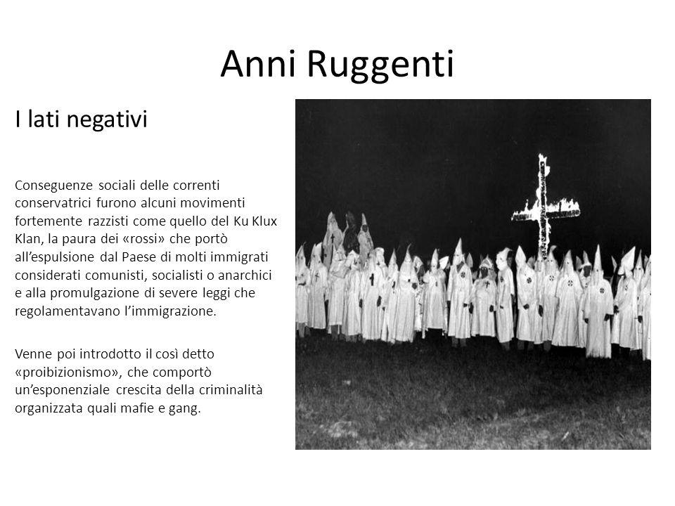 Anni Ruggenti I lati negativi Conseguenze sociali delle correnti conservatrici furono alcuni movimenti fortemente razzisti come quello del Ku Klux Kla