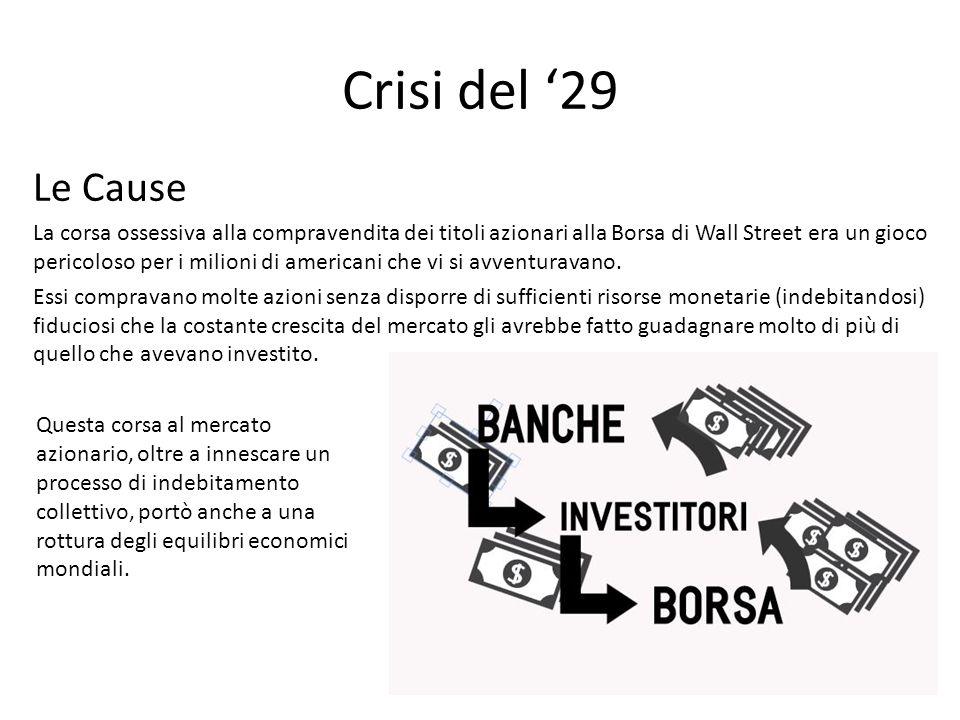 Crisi del '29 Le Cause La corsa ossessiva alla compravendita dei titoli azionari alla Borsa di Wall Street era un gioco pericoloso per i milioni di am