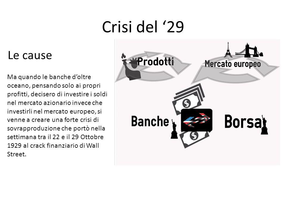 Crisi del '29 Ma quando le banche d'oltre oceano, pensando solo ai propri profitti, decisero di investire i soldi nel mercato azionario invece che inv