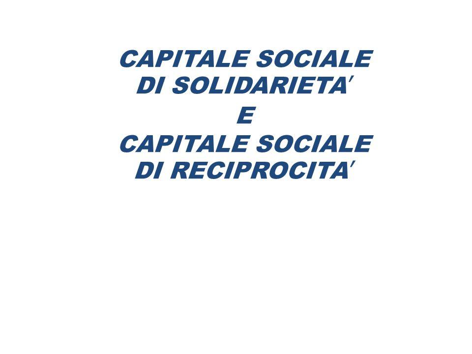 CAPITALE SOCIALE DI SOLIDARIETA' E CAPITALE SOCIALE DI RECIPROCITA'